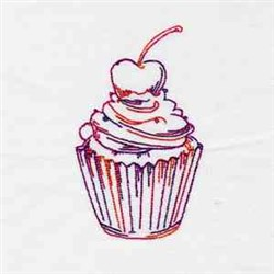Redwork Cupcake embroidery design