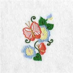 Poppies and Butterfly embroidery design