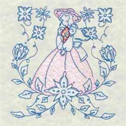 Bluework Floral Lady embroidery design