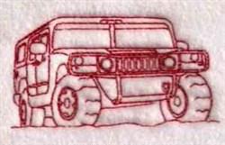 Redwork Hummer embroidery design