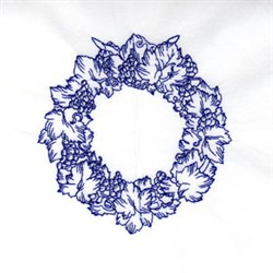 Bluework Grape Wreath embroidery design
