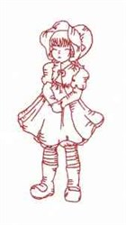 Redwork Vintage Girl embroidery design