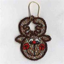 Mylar Reindeer Earring embroidery design