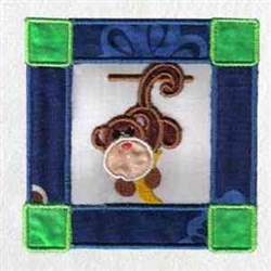 Zoo Block Monkey embroidery design