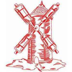 Redwork Windmill embroidery design