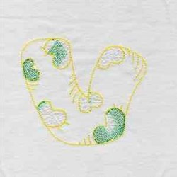 Kids Font Letter V embroidery design