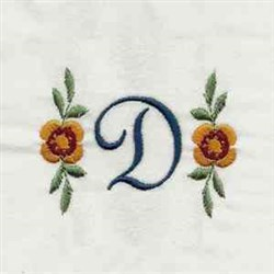 Floral Script Letter D embroidery design