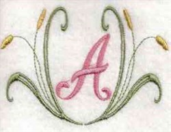 Cattail Letter A embroidery design