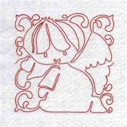 Line Art Angel Block embroidery design