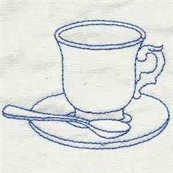 Bluework Teacup embroidery design