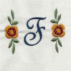 Floral Script Letter F embroidery design