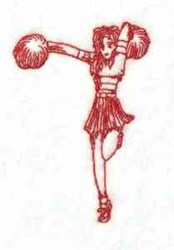 Redwork Cheerleader embroidery design