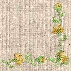 Cross Stitch Floral Corner embroidery design