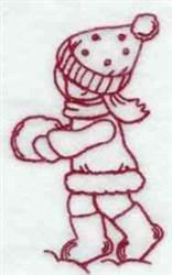 Redwork Winter Girl embroidery design