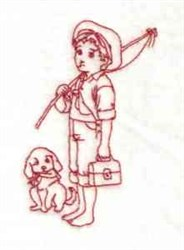 Redwork Boy Fishing embroidery design