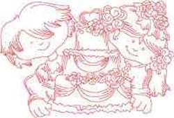 Redwork Wedding embroidery design
