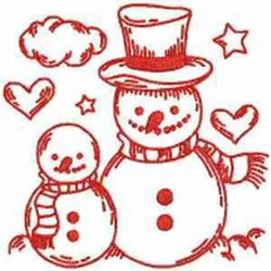 Redwork Snowmen embroidery design