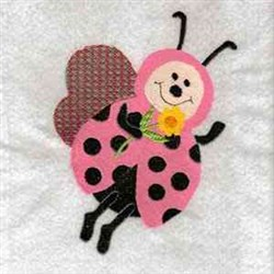 Pink Ladybug embroidery design