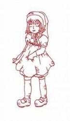 Redwork Vintage Girl embroidery design