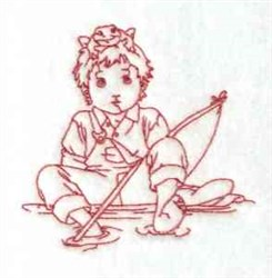 Redwork Boy Fishing embroidery design
