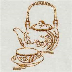 Vintage Kitchen Teapot embroidery design