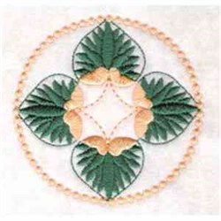 Round Lily With Leaves embroidery design