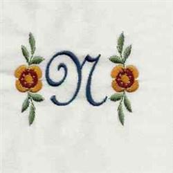 Floral Script Letter N embroidery design