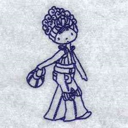 Bluework Fashion Girl embroidery design
