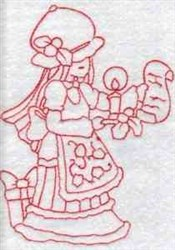 Redwork Xmas Girl embroidery design