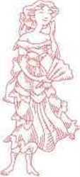 Redwork Victorian Lady embroidery design