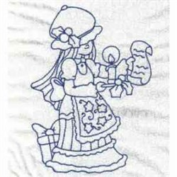 Bluework Xmas Bonnet Girl embroidery design