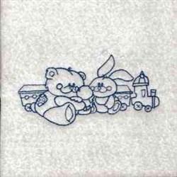 Bluework Teddy Bear  embroidery design