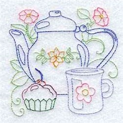 Redwork Teapot embroidery design