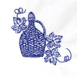 Bluework Wine embroidery design