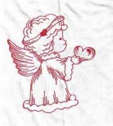 Redwork Valentine Angel embroidery design