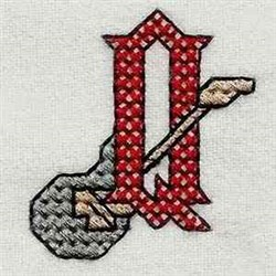 Heavy Metal Letter Q embroidery design