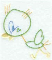 Kids Line Art Bird embroidery design