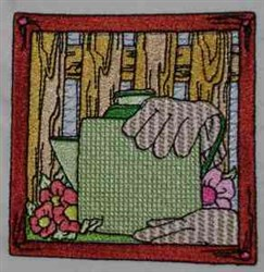 Watercan Quilt Block embroidery design