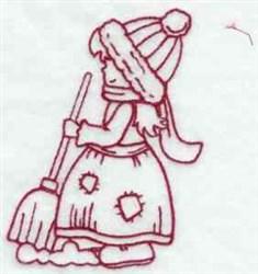 Redwork Winter Sunbonnet embroidery design