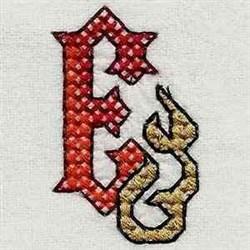 Heavy Metal Letter E embroidery design