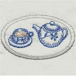 Vintage Kitchen Tea Set embroidery design