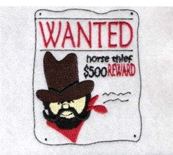 Wanted Poster embroidery design