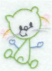 Kids Line Art Cat embroidery design