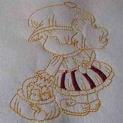 Autumn Bonnet Girl embroidery design