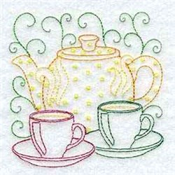 Teapot And Teacups embroidery design