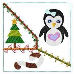 Frosty Penguin Quilt Block embroidery design