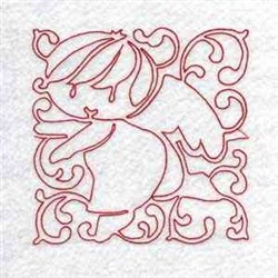 Line Art Angel Block embroidery design