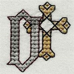 Heavy Metal Letter D embroidery design