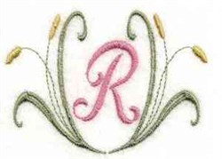 Cattail Letter R embroidery design