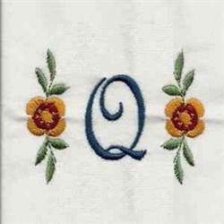 Floral Script Letter Q embroidery design